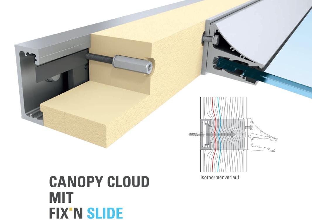 Montageschine FIX'N SLIDE für die thermisch und statisch korrekte Montage von CANOPY CLOUD